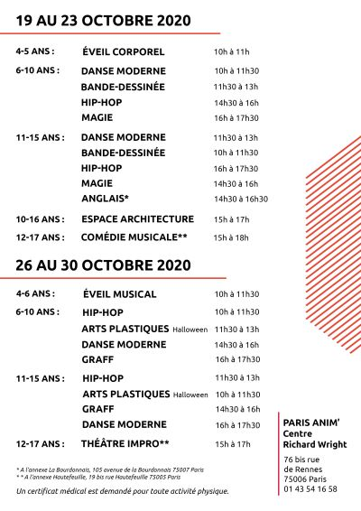 Stages octobre