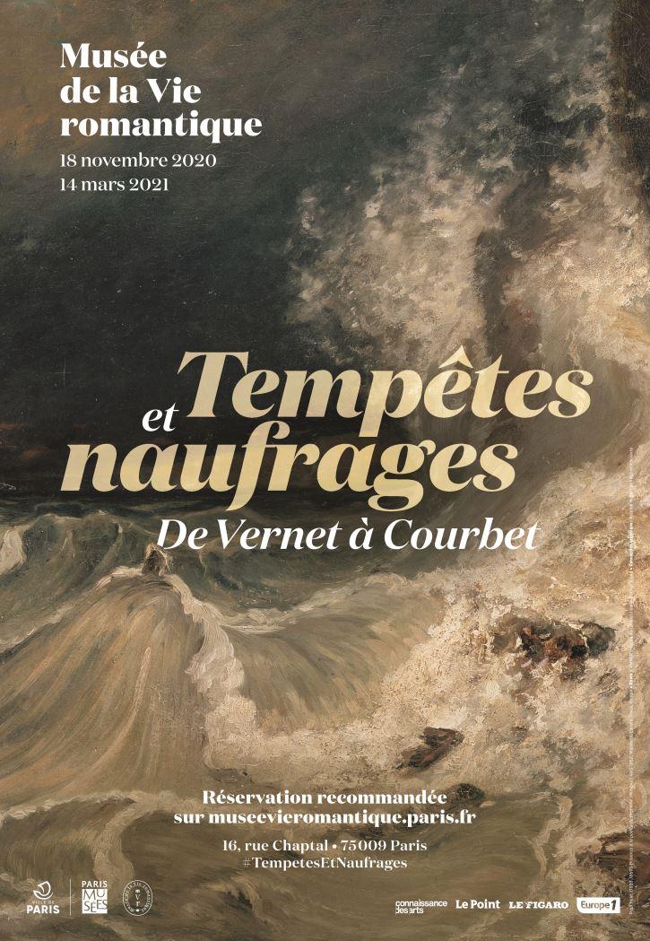 Affiche officielle de l'exposition « Tempêtes et naufrages. De Vernet à Courbet ».Conception graphique © Nicolas Hubert, Virginie Poilièvre. Œuvre : Paul Huet (1803-1869).
