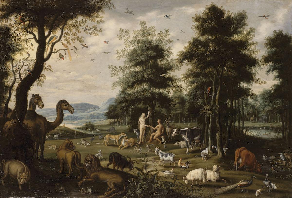 Van Oosten Isaack (1613-1661) Le Paradis Terrestre. Adam et Eve et les animaux de la Création. Pendant Rennes, musée des Beaux-Arts