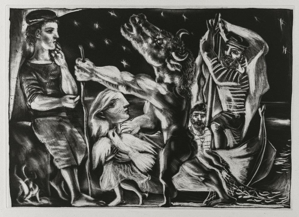 Pablo Picasso, Suite Vollard : série Le Minotaure aveugle guidé par une petite fille dans la nuit (97), 1932 Estampe