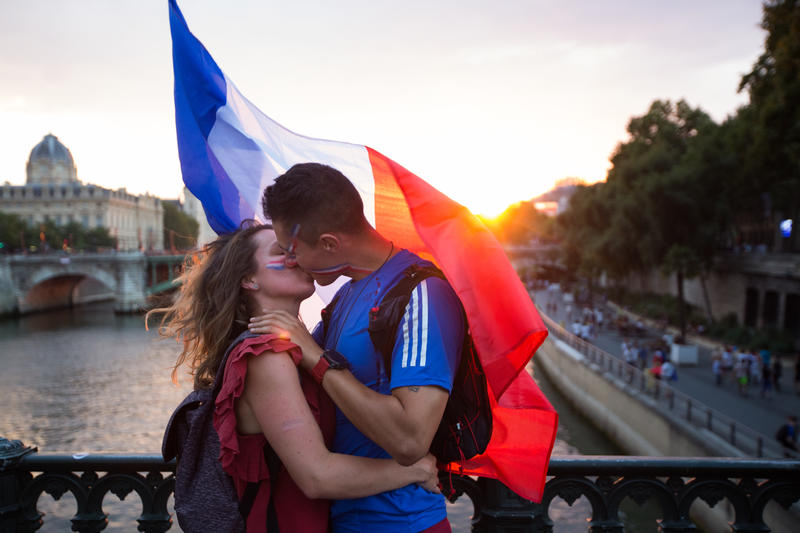 Pont d'Arcole durante la victoria de la Copa del Mundo 2018