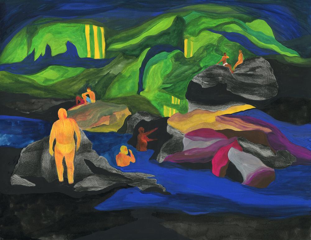 """""""rivière"""", 2020 technique mixte sur papier – 50 x 65 cm"""