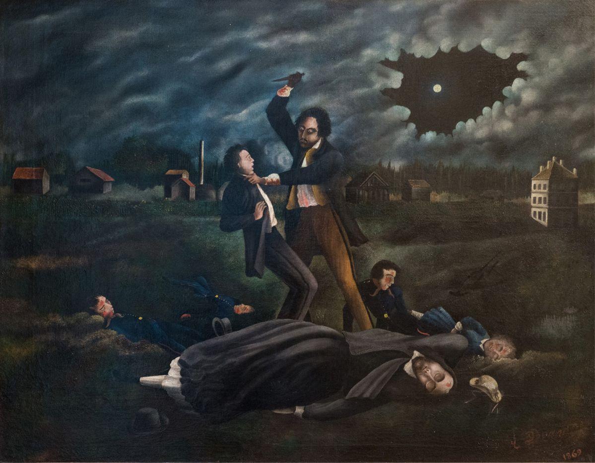 R. Douay : Le fou assassin, le meurtre de Pantin, le crime de Troppmann, 1869. Huile sur toile.