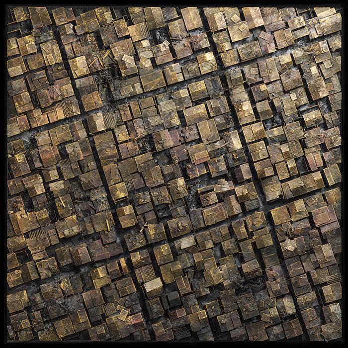 Hendrik CZAKAINSKI, The Square Gold, 2020, technique mixte, 104 x 104 x 5 cm