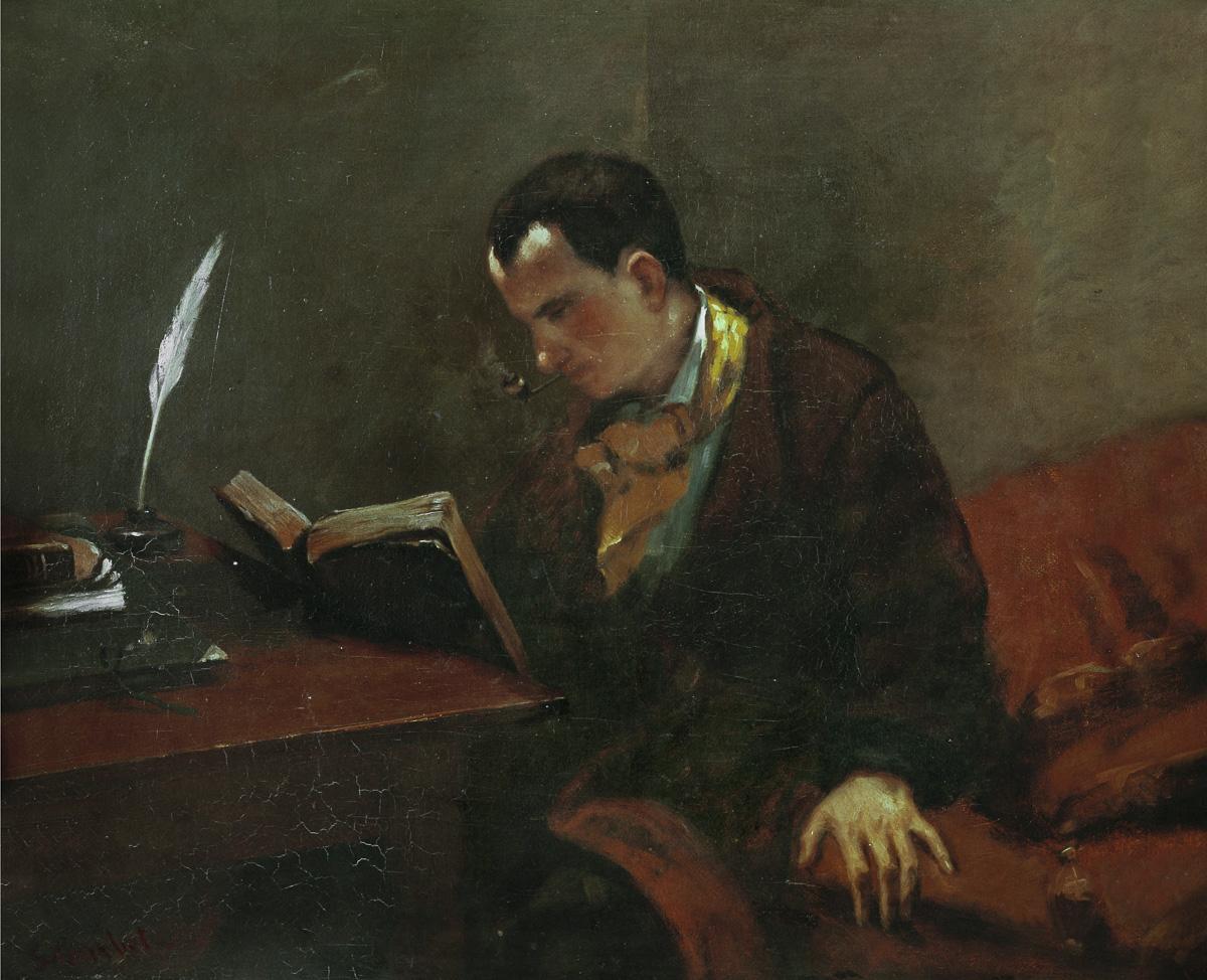"""Gustave Courbet (1819-1877). """"Charles Baudelaire"""" (1821-1867), écrivain français, 1848. Montpellier, musée Favre."""