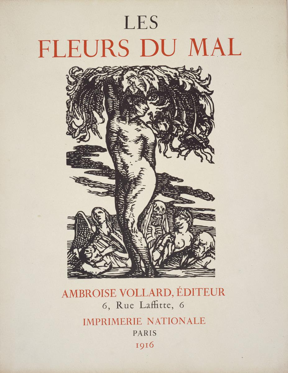 """Page de couverture du livre """"Les Fleurs du Mal"""" (volume I) par Charles Baudelaire, Ambroise Vollard éditeur, 6 rue Laffitte, Imprimerie Nationale, Paris, 1916. Musée des Beaux-Arts de la Ville de Paris, Petit Palais."""
