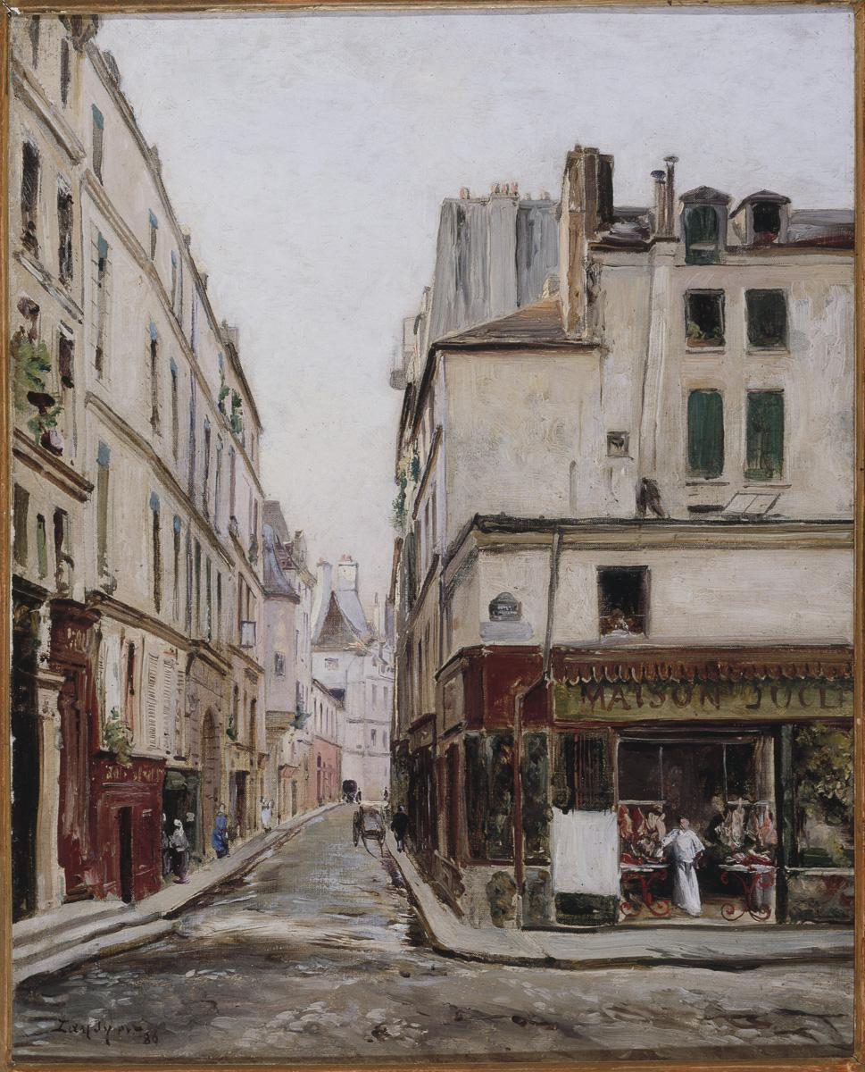 La Rue Hautefeuille, Lansyer, Maurice Emmanuel , Peintre  En 1886   Musée Carnavalet, Histoire de Paris