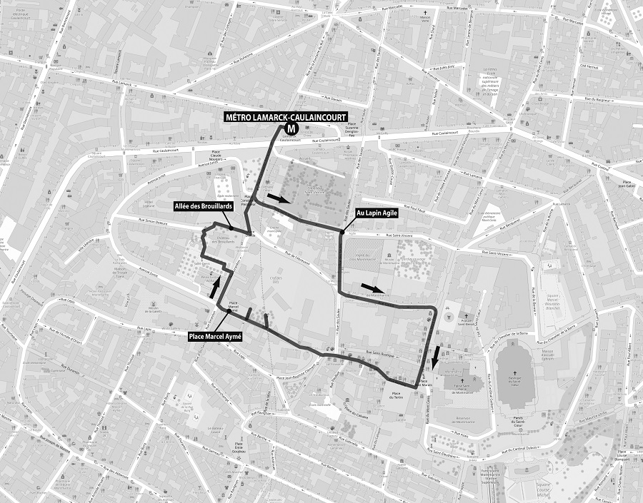 Itinéraire de la balade Gambader parmi les herbes folles à Montmartre