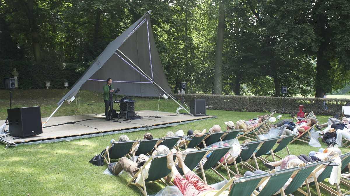 Nom du spectacle : Le concert jardinal, concert numérique de plein air en transats vibrants Compagnie : Espace Musical