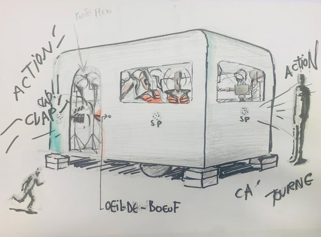 Dessin préparatoire, la caravane folle, Malachi Farrell, oeuvre mobile dans l'espce public, 2021