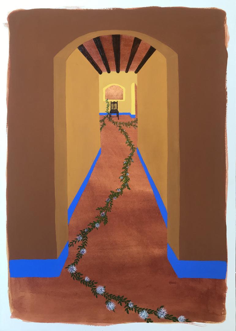 Intérieurs Infinis 4, 2021, 50x70cm, Gouache, crayon et huile sur papier marouflé sur bois 2021, collection de l'artiste
