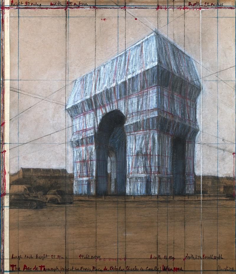 Christo - The Arc de Triumph (Project for Paris, Place de l'Etoile – Charles de Gaulle) Wrapped Drawing 2018