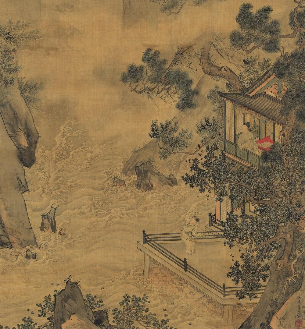 Qiu Ying (v. 1494-v. 1552) L'éveil du dragon au printemps (détail), non daté Encre et couleurs sur soie 119,4 x 54,5 cm