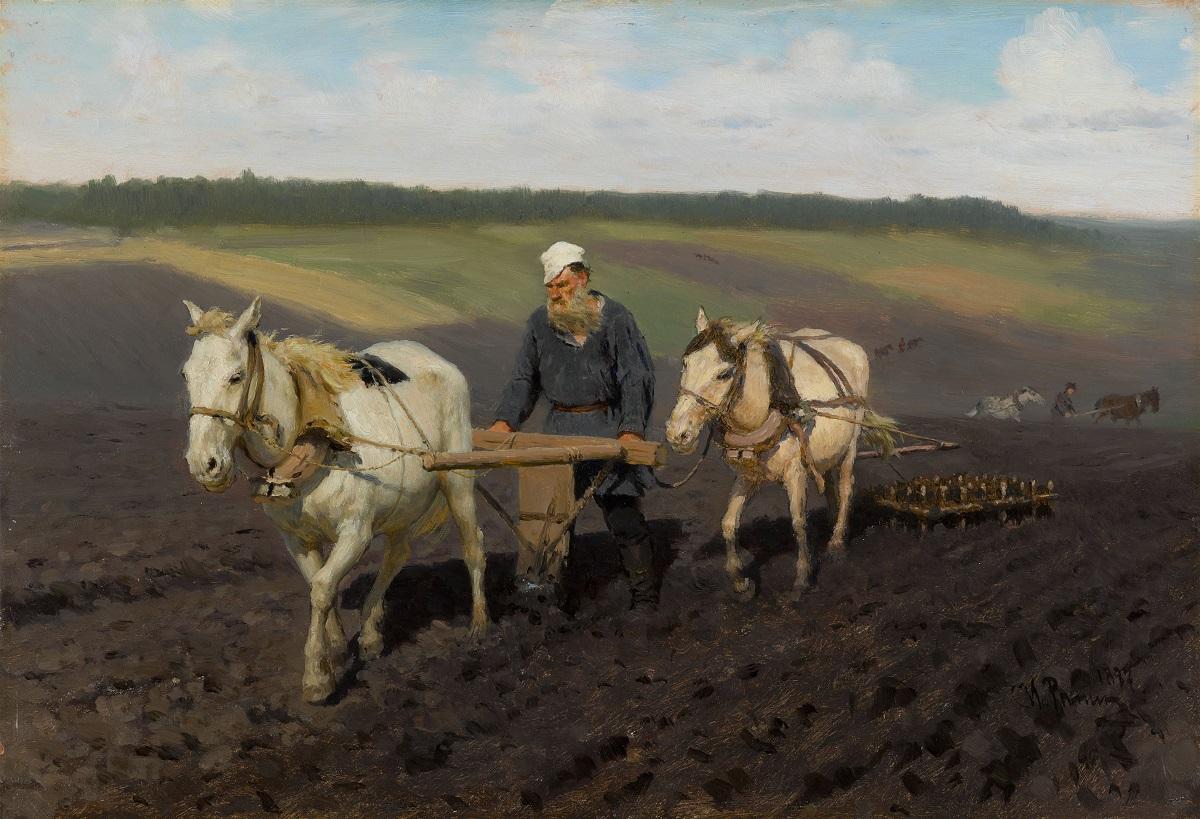 Ilya Répine, Léon Tolstoï labourant, 1887 Huile sur carton