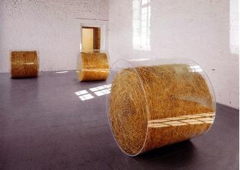 Didier Marcel, Sans Titre ( Paysage), 1999, Paille de blé et altuglas - © Didier Marcel et galerie Michel Rein