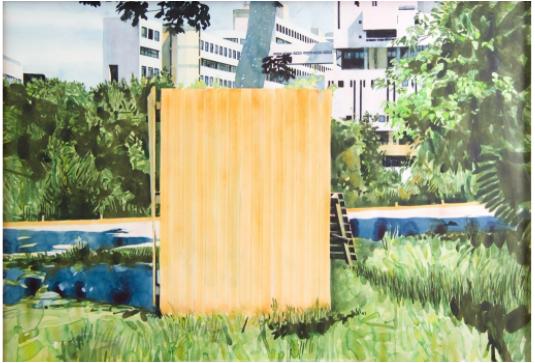 Oeuvre de Yvan Salomone intitulée 0804.0812 TRANSLATION, 2012, une aquarelle, 101 x 142 cm.