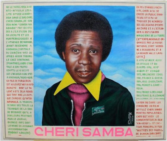 Peinture de Chéri Samba intitulée Autoportrait 1988 - 1989, peinture, huile sur toile