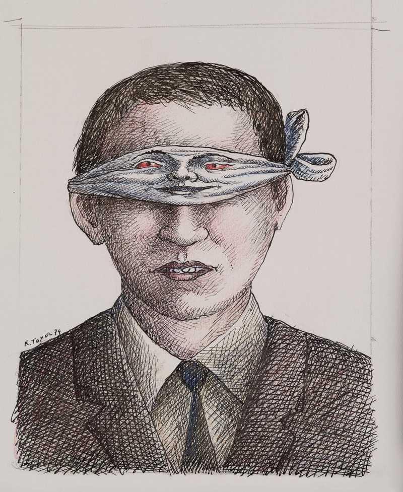 Roland Topor, dessin pour la couverture de Histoires comme si, 1975