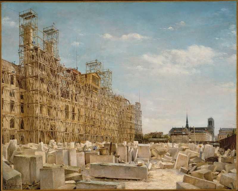 « L'Hôtel de Ville en reconstruction ».