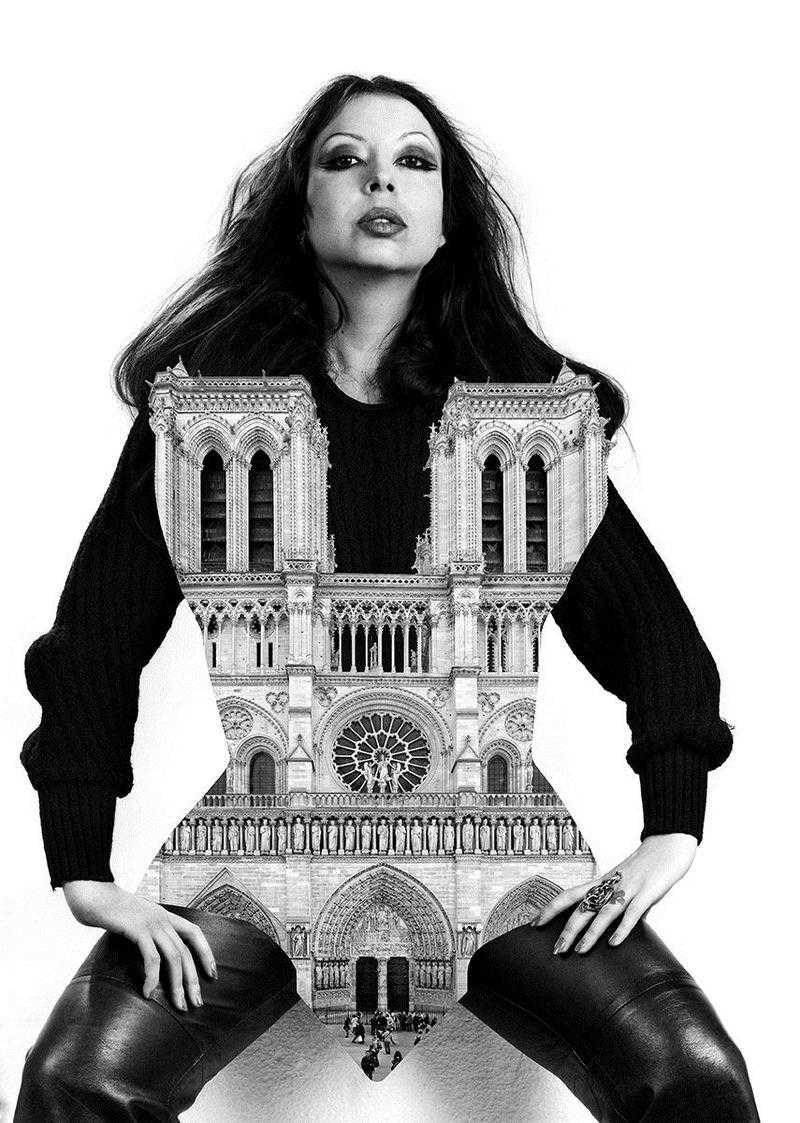 ORLAN et la cathédrale Notre-Dame de  Paris , 1977 Série « Bordel et cathédrales »