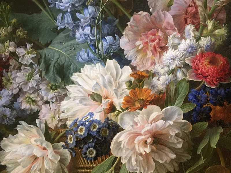 Gérard Van Spaendonck Corbeille et vase de fleurs, 1785, détail