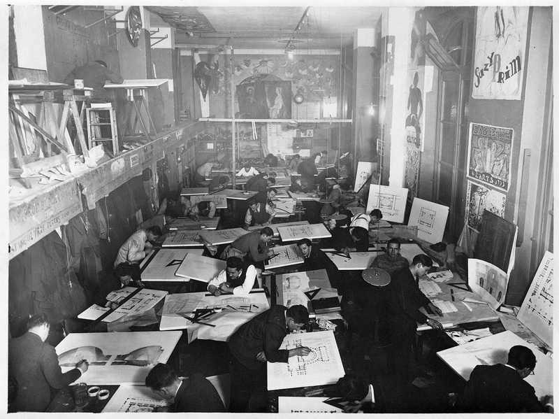 Vue intérieure de l'atelier de Paul Bigot