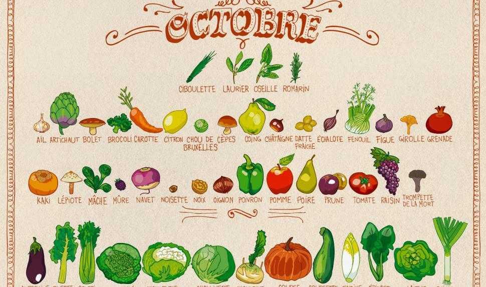 Octobre et ses fruits et légumes