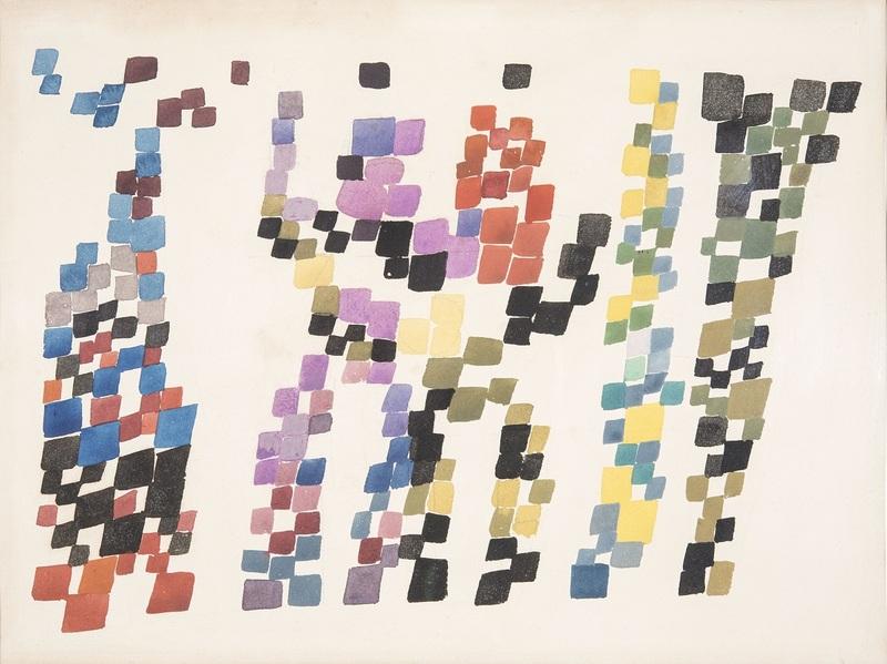 Tâches quadrangulaires évoquant un groupe de personnages, 1920