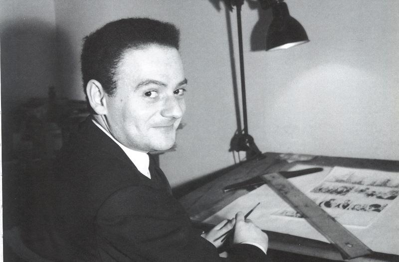 René Goscinny à sa table de dessin