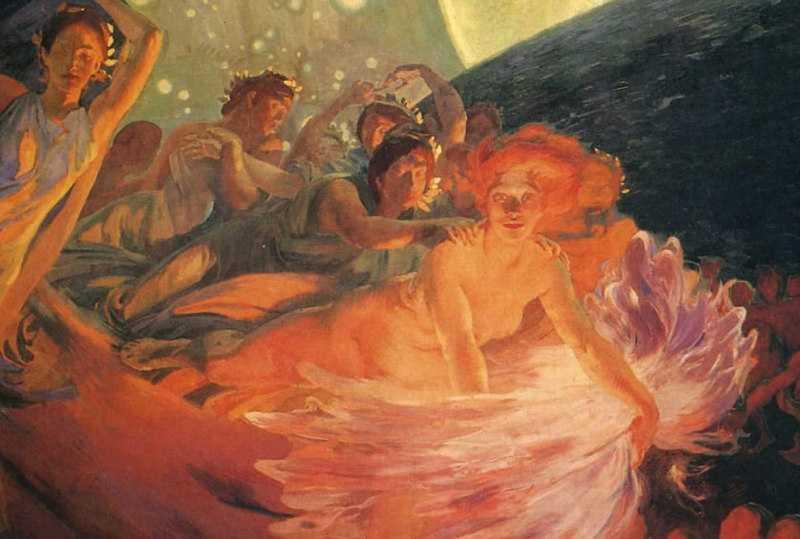 La Vérité entraînant les Sciences à sa suite répand sa lumière sur les hommes, détail, vers 1890, peinture murale, Paris, Hôtel de Ville, Salon des sciences.