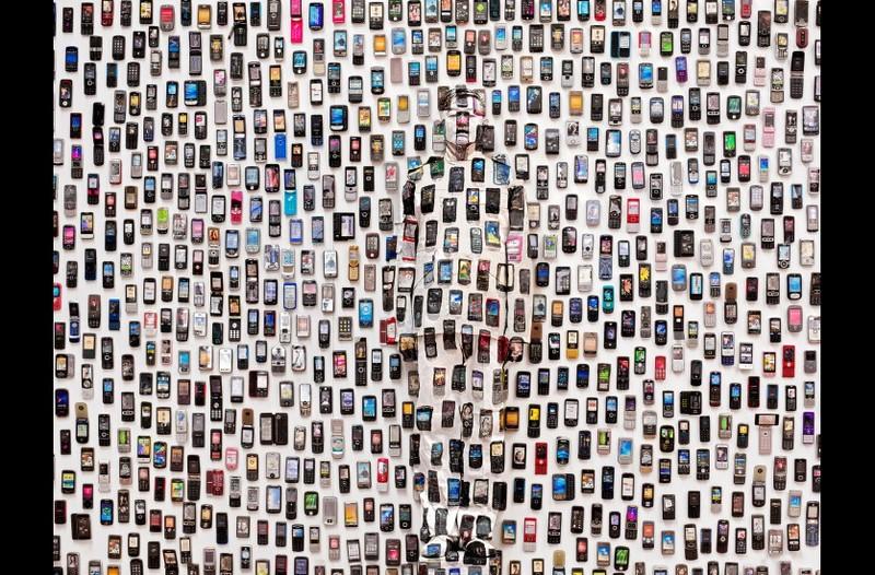 Hiding in the City 104, Mobile Phone, 2012 120 x 150 cm © Liu Bolin, courtesy of the artist / Galerie Paris-Beijing
