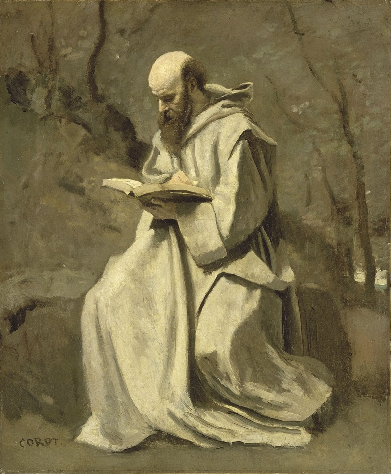 Moine blanc, assis, lisant vers 1850-1855