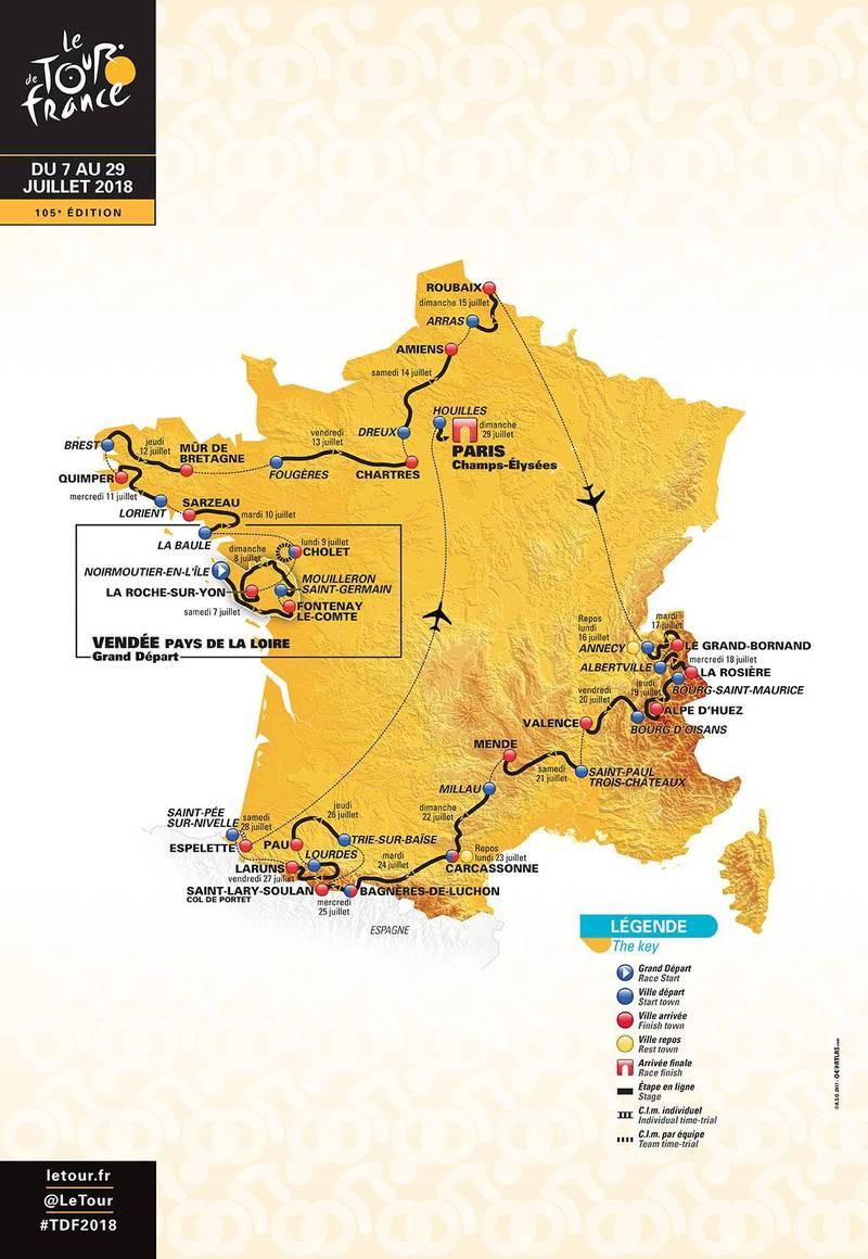 Tour de France 2018 map