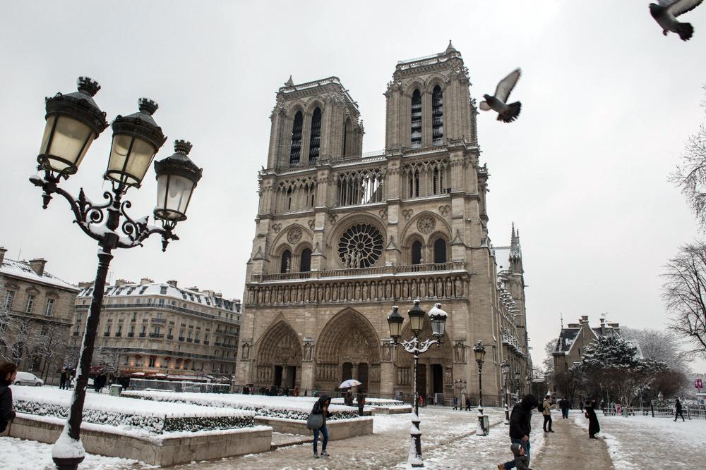 Notre Dame sous la neige