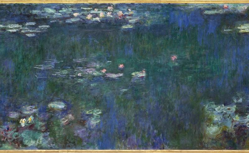 Claude Monet (1840-1926) Les Nymphéas : Reflets verts (détail) Vers 1915-1926 Huile sur toile, 200 x 850 cm Musée de l'Orangerie - Salle 1, mur est