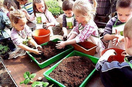 photo d'enfants qui jardinent