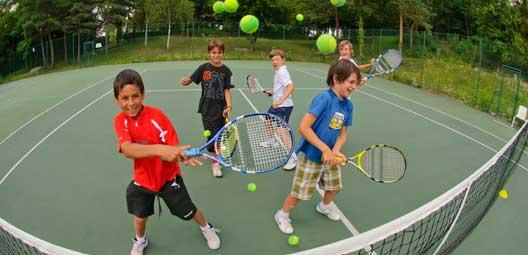 raquette, balle, enfant, tennis