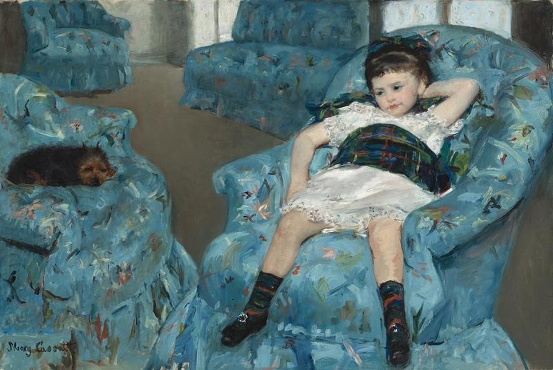Mary Cassatt, Petite Fille dans un fauteuil bleu, Vers 1877-1878