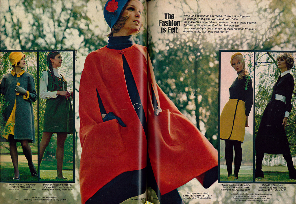 """1968 DIY Fashion Ad (2 pages), Skirts, Coats, & Capes, Simplicity, """"The Fashion Is Felt"""""""