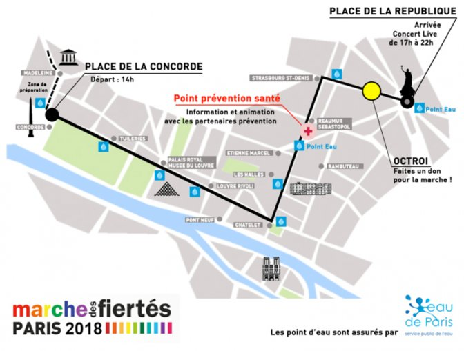 Parcours Marche des Fiertés 2018