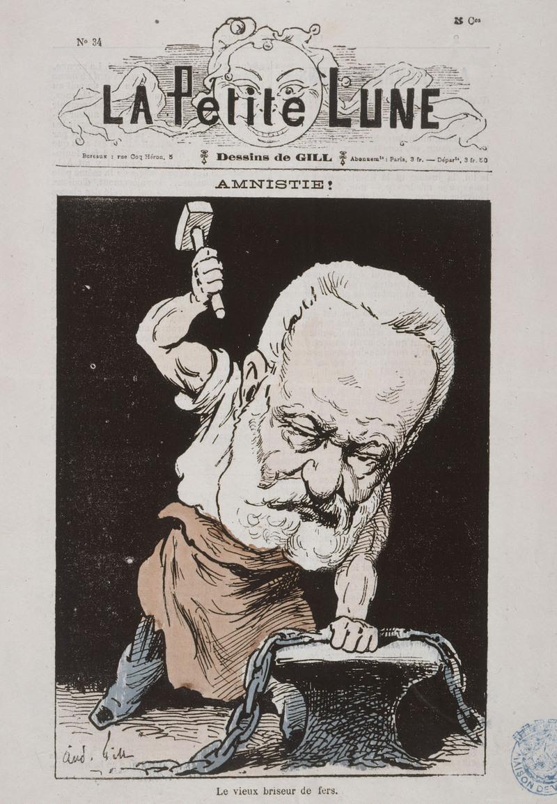 """André Gill, Louis -Alexandre Gosset de Guines, dit, """"Amnistie"""" , La Petite Lune, 28 février 1879, s"""