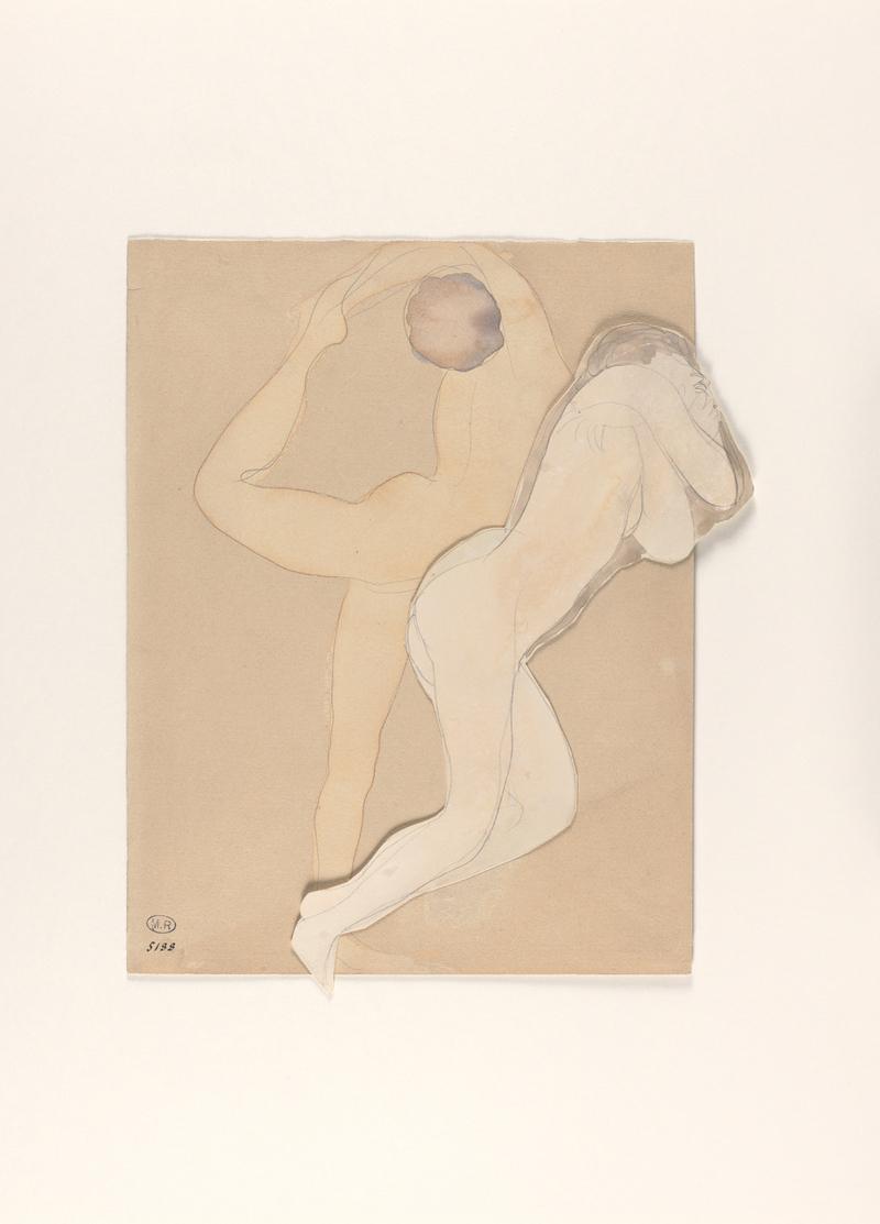 Auguste Rodin Couple féminin Assemblage d'un papier vélin découpé et d'un dessin sur papier vélin Crayon au graphite (trait) et aquarelle H. 33,5 cm ; L.27,7 cm Après 1896