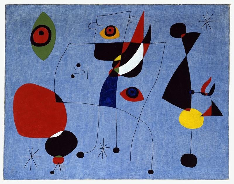 Joan Miró, Femmes et oiseau dans la nuit, 5 mai 1947. Huile sur toile. New York, Calder Foundation