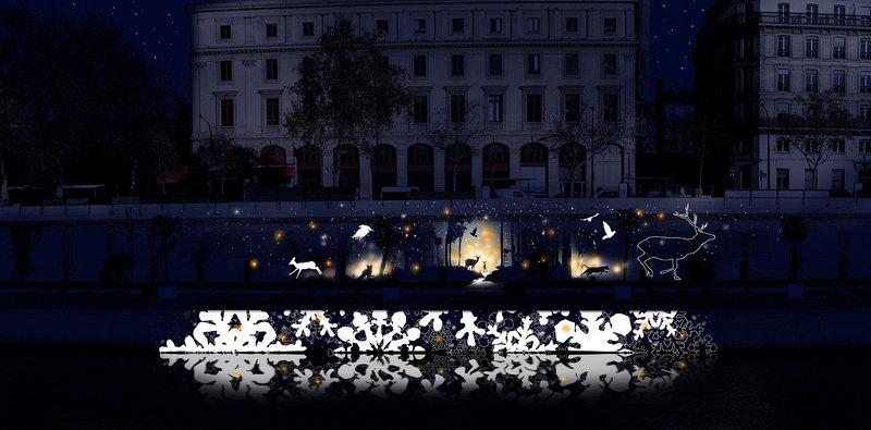 Projections de Noël sur le Parc des Rives de Seine