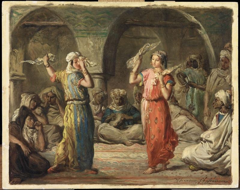 Théodore Chassériau  Danseuses marocaines. La Danse aux mouchoirs  1849  Huile sur bois 32 x 40 cm Paris, musée du Louvre, département des Peintures, legs du baron Arthur Chassériau, entré au Louvre en 1934