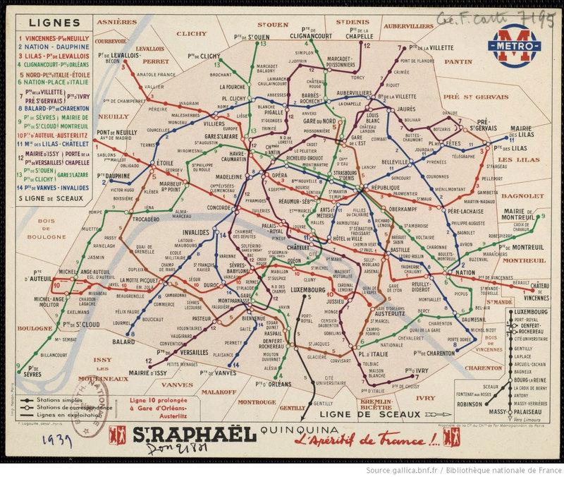 Plan officiel du métro parisien (1939)