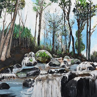 « Fluidité II » 2013, huile sur toile,200X200 cm.