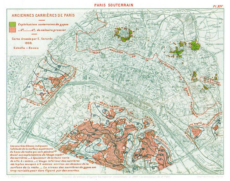 Situation des anciennes carrières sous Paris (carte de 1908).
