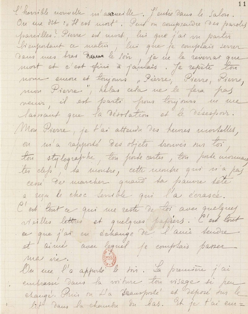 Marie Curie Fragments du journal tenu après la mort de Pierre Curie, portant deux traces de larmes, avril 1906