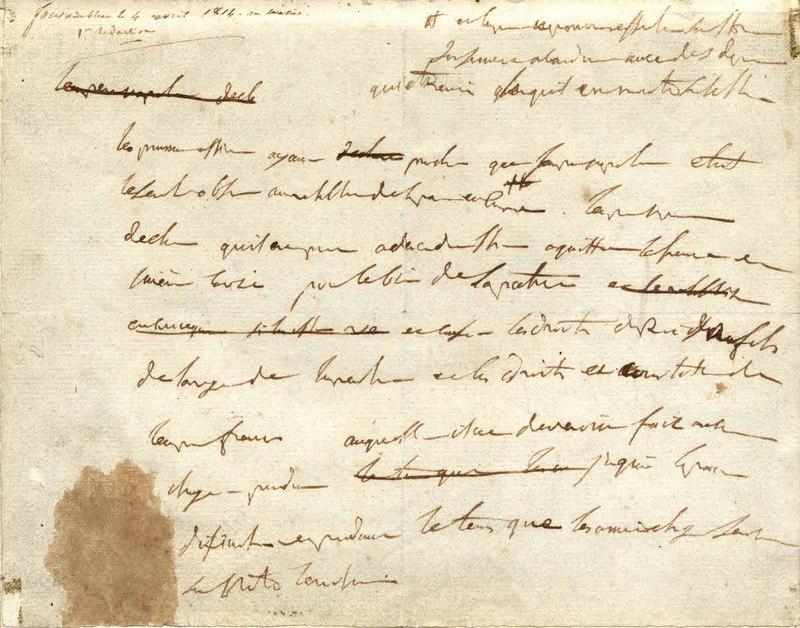 Napoléon Ier Brouillon de son acte d'abdication Fontainebleau, 4 avril 1814
